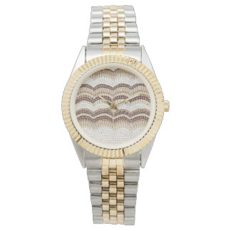 Beige Mosaic Women's Two-Tone Bracelet Watch