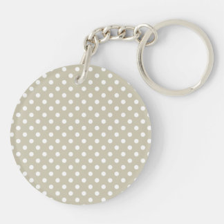 Beige Neutral Polka Dots Retro Vintage Preppy Double-Sided Round Acrylic Keychain