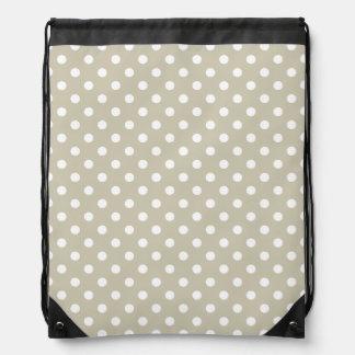 Beige Neutral Polka Dots Retro Vintage Preppy Drawstring Bag