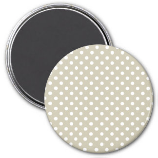 Beige Neutral Polka Dots Stylish  Modern Chic 3 Inch Round Magnet