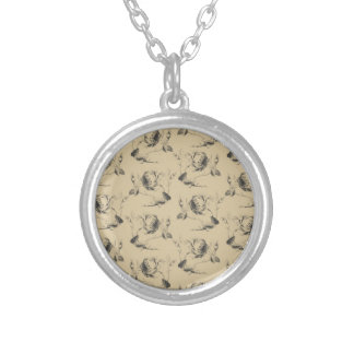 BEIGE ON GREY SILVER PLATED NECKLACE