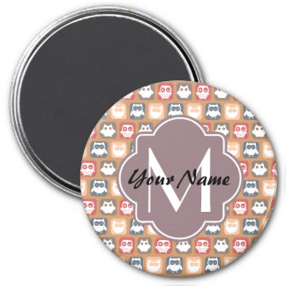 Beige Owls Personalized Monogram and Name 3 Inch Round Magnet