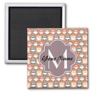 Beige Owls Personalized Monogram and Name Square Magnet