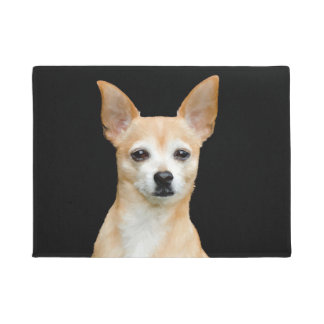 Beige painted chihuahua on black background doormat