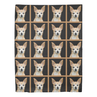 Beige painted chihuahua on black background duvet cover