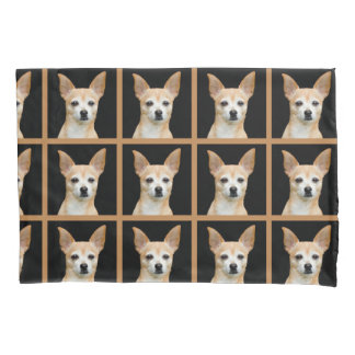 Beige painted chihuahua on black background pillowcase