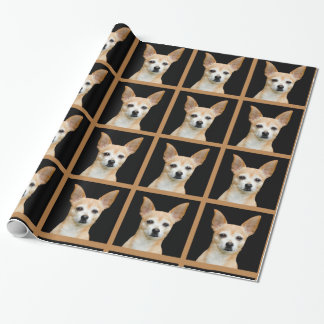 Beige painted chihuahua on black background wrapping paper