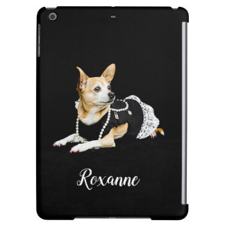 Beige painted glam chihuahua on black background iPad air cover