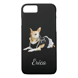 Beige painted glam chihuahua on black background iPhone 8/7 case