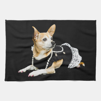 Beige painted glam chihuahua on black background kitchen towel