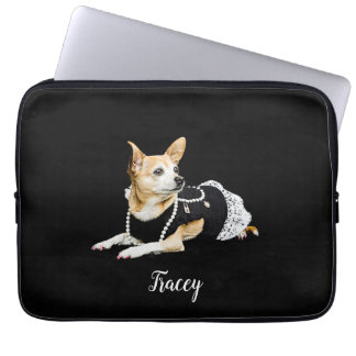 Beige painted glam chihuahua on black background laptop sleeve