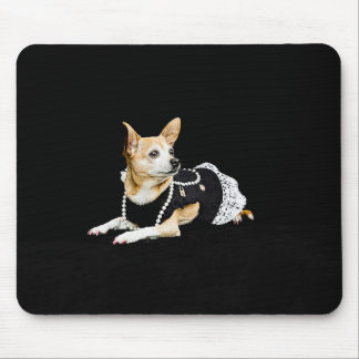 Beige painted glam chihuahua on black background mouse pad