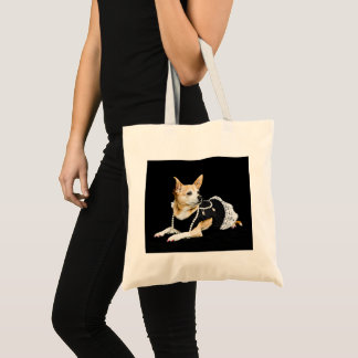 Beige painted glam chihuahua on black background tote bag