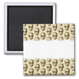 Beige Pattern with Skulls. Refrigerator Magnet