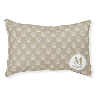Beige Paw Prints Pattern With Monogram & Name Pet Bed