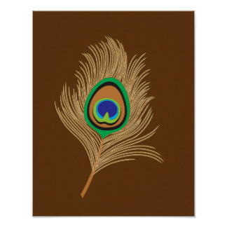 Beige Peacock Feather on Chocolate Brown Poster