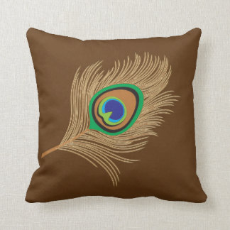 Beige Peacock Feather on Chocolate Brown Throw Pillow