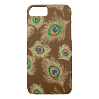 Beige Peacock Feathers on Chocolate Brown iPhone 8/7 Case