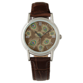 Beige Peacock Feathers on Chocolate Brown Watch