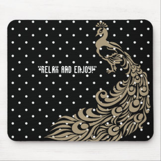 BEIGE-PEACOCK-SELF-EXPRESSION-TEMPLATE MOUSE PAD