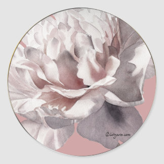 Beige Pink Peony Wedding Envelope Seals Round Sticker