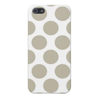 Beige Polkadot de toile de jute Étuis iPhone 5