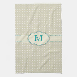 Beige Polkadot Pattern-Monogram Kitchen Towel