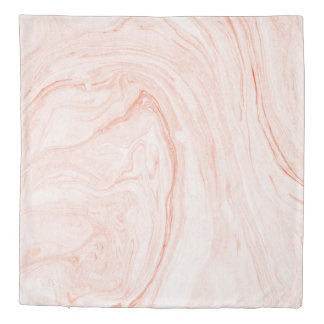 Beige & Rose-Gold Marble Swirls Duvet Cover