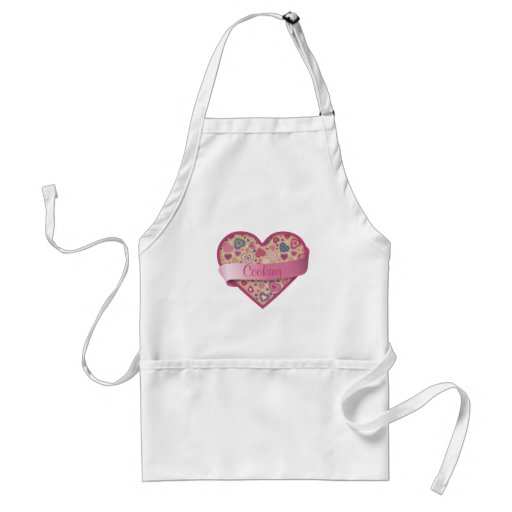 Beige Rose heart with banner, customizable Apron