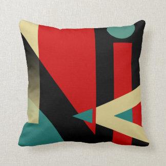 Beige rouge turquoise noir géométrique bariolé du oreiller