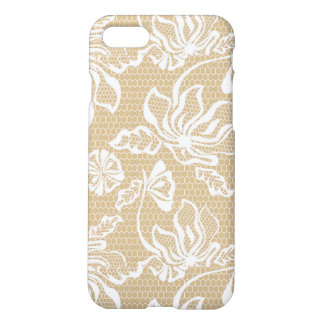 Beige Sand Lace Overlay Pattern White Netting Mesh iPhone 8/7 Case