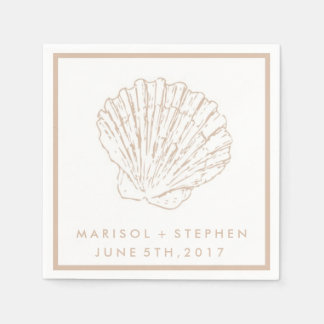 Beige Seashell Beach Wedding Personalized Napkins Paper Napkins
