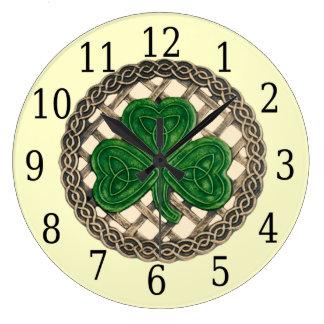 Beige Shamrock And Celtic Knots Round Clock