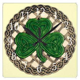 Beige Shamrock And Celtic Knots Square Clock