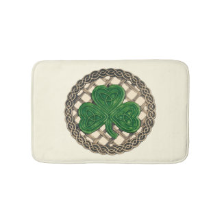 Beige Shamrock On Celtic Knots Bath Mat
