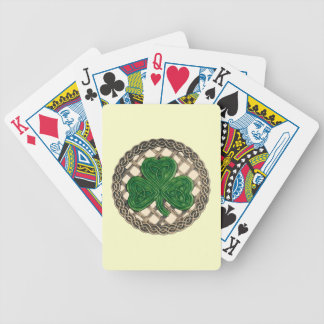 Beige Shamrock On Celtic Knots Playing Cards
