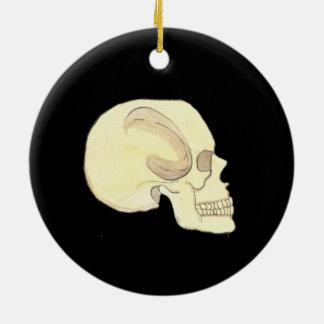 Beige Skull Circle Ornament