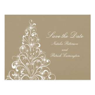 Beige Sparkly Holiday Tree Save the Date Postcard