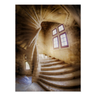 Beige spirl staircase, France Poster