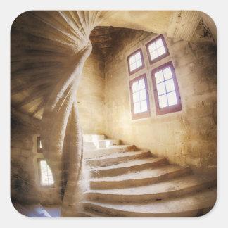 Beige spirl staircase, France Square Sticker