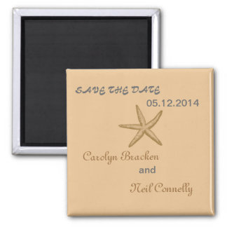 Beige Starfish Beach Save the Date square Magnet Magnet