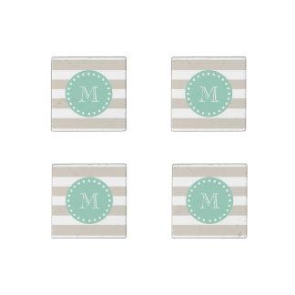 Beige Stripes Pattern, Mint Green Monogram Stone Magnet