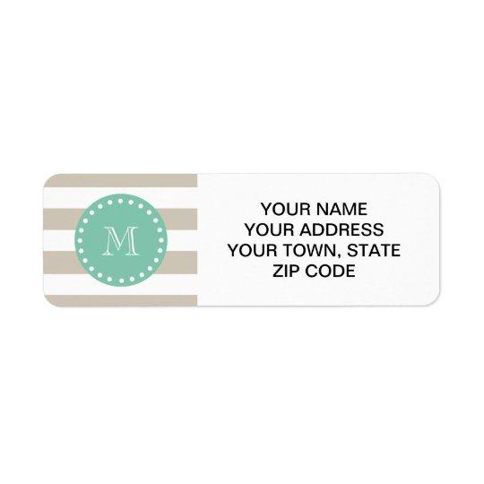 Beige Stripes Pattern, Mint Green Monogram Return Address Label