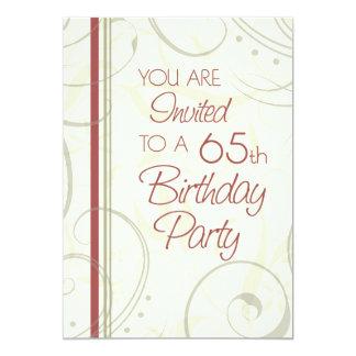 Beige Swirls 65th Birthday Party Invitation Cards