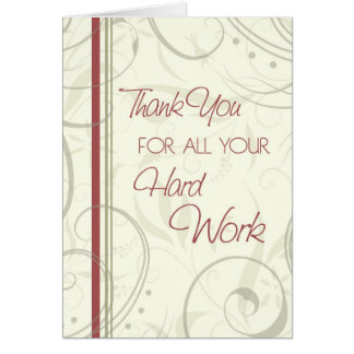 Beige Swirls Employee Appreciation Card