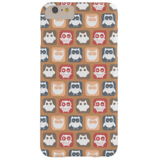 Beige Tan Owl Pattern Barely There iPhone 6 Plus Case