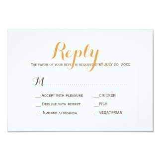 Beige tan simple wedding response meal choice RSVP Card