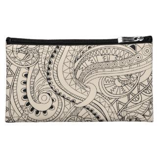 beige tangled pattern cosmetic bag