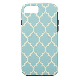 Beige & Teal Geometric Quatrefoil Pattern Pattern iPhone 7 Case