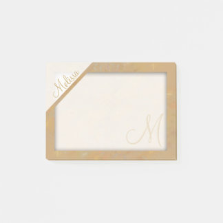 Beige Textured Monogram Post-it Notes